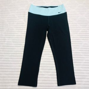 Nike Dri Fit Crop Leggings Running Tights Aqua XS